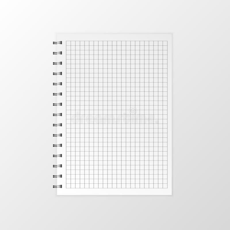 空白的现实传染媒介笔记本 在白色背景的平的传染媒介例证螺旋笔记薄 库存例证