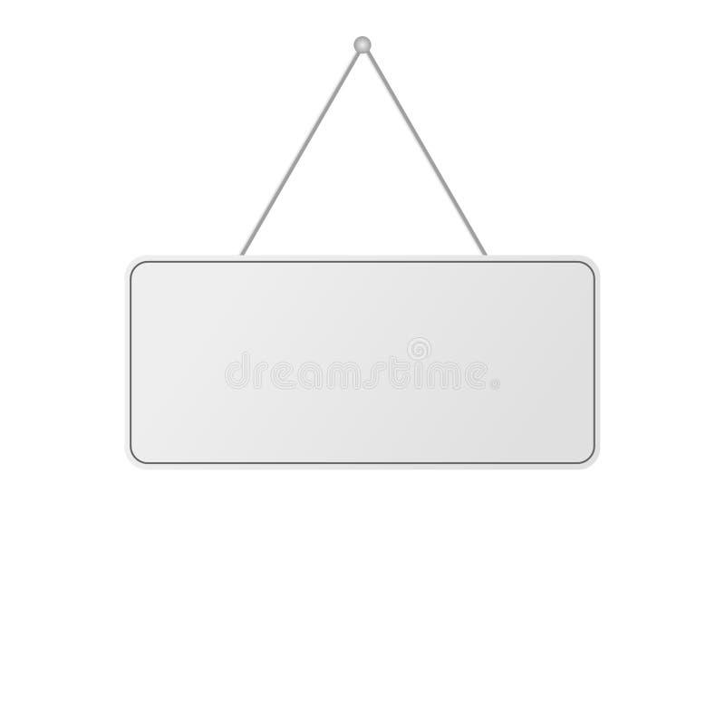空白的现实门垂悬的板材白色背景 皇族释放例证