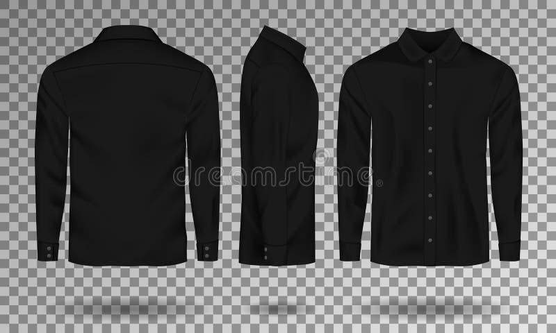 空白的男性黑衬衣模板 有长的袖子的现实人衬衣朝向,支持,后面看法 偶然棉布衬衣 库存例证
