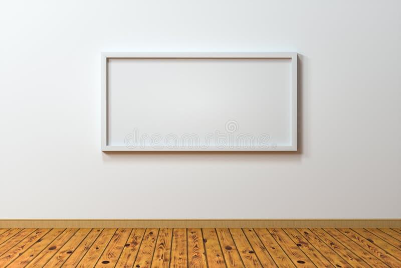 空白的画架板有木地板背景,3d翻译 向量例证