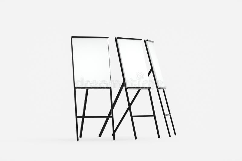 空白的画架板有白色背景,3d翻译 向量例证