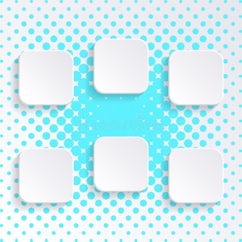 空白的白方块按钮 向量例证