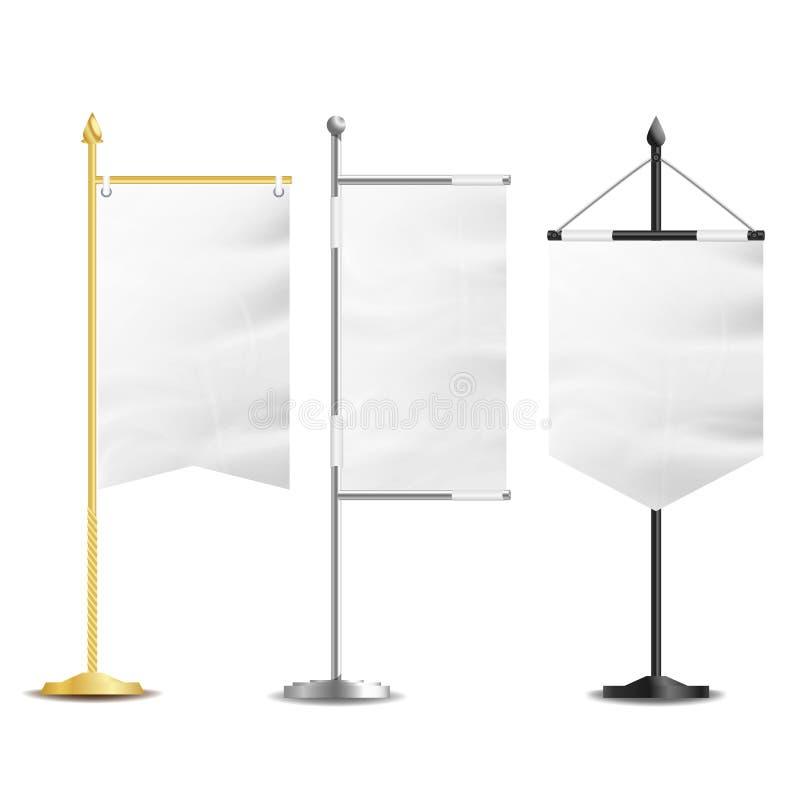 空白的白旗口袋表传染媒介 为企业促进和广告设置的现实模板 也corel凹道例证向量 向量例证