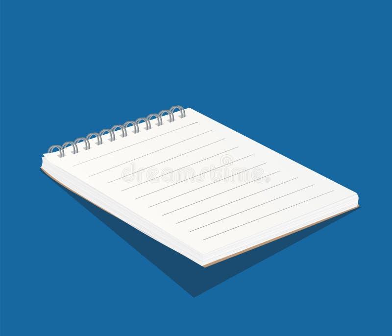 空白的白色习字簿模板 3d笔记本的例证 免版税库存照片