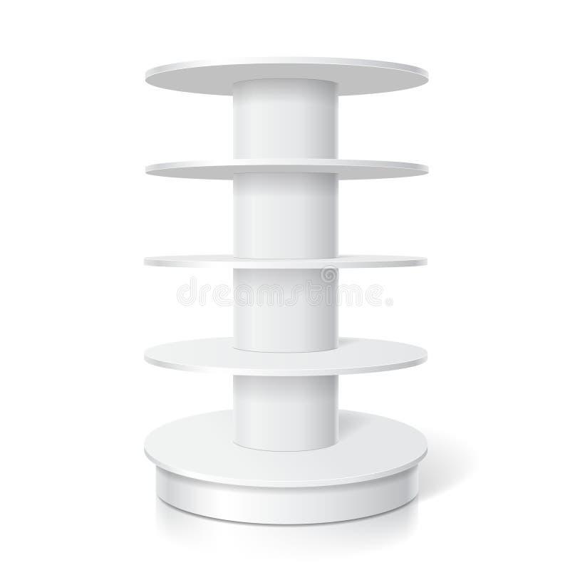 空白的白色产品现实显示 与圆的架子的空的超级市场立场导航模板 皇族释放例证
