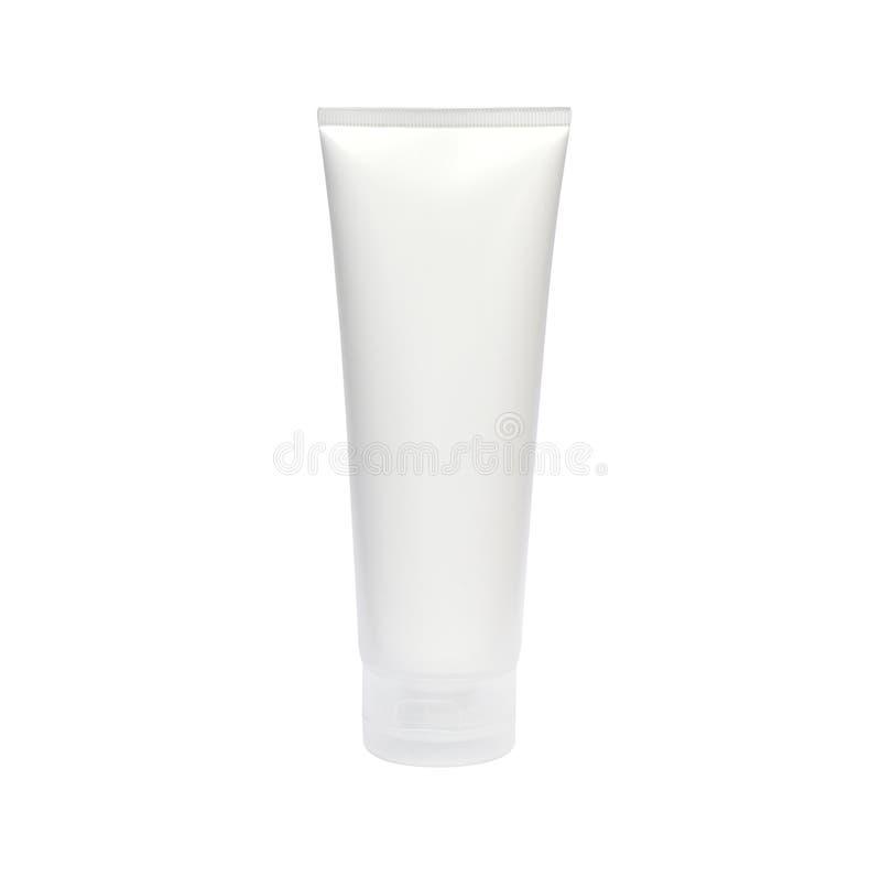 空白的白色化妆管盒奶油 免版税库存照片