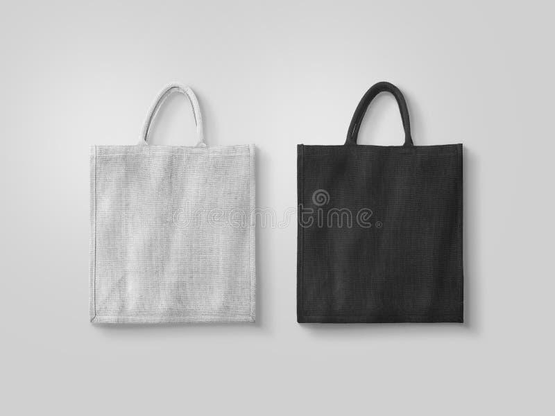 空白的白色和黑棉花eco袋子设计大模型 库存图片