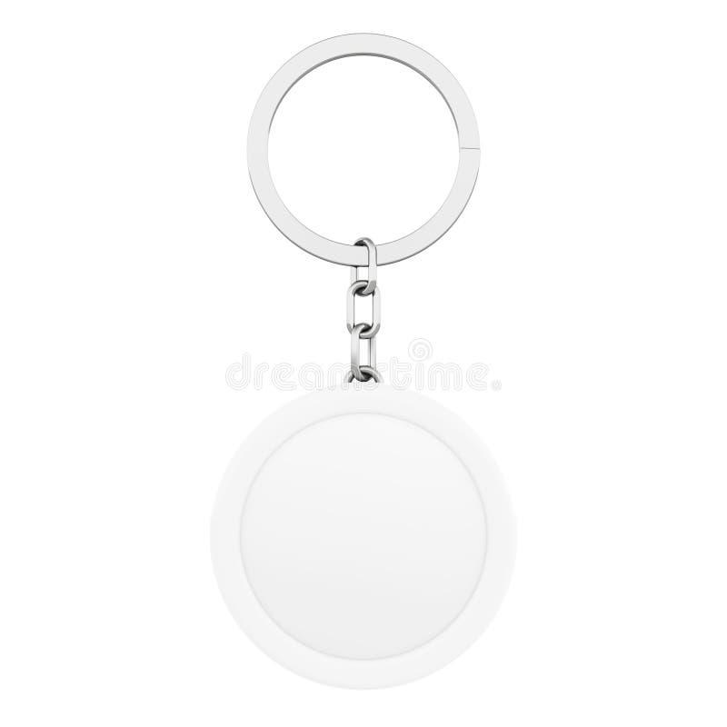 空白的白色圆的与钥匙圈的金属钥匙链 3d翻译 皇族释放例证