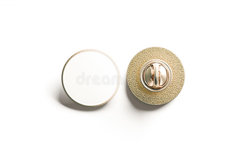 空白的白色圆的金翻领徽章嘲笑,前面后面 向量例证