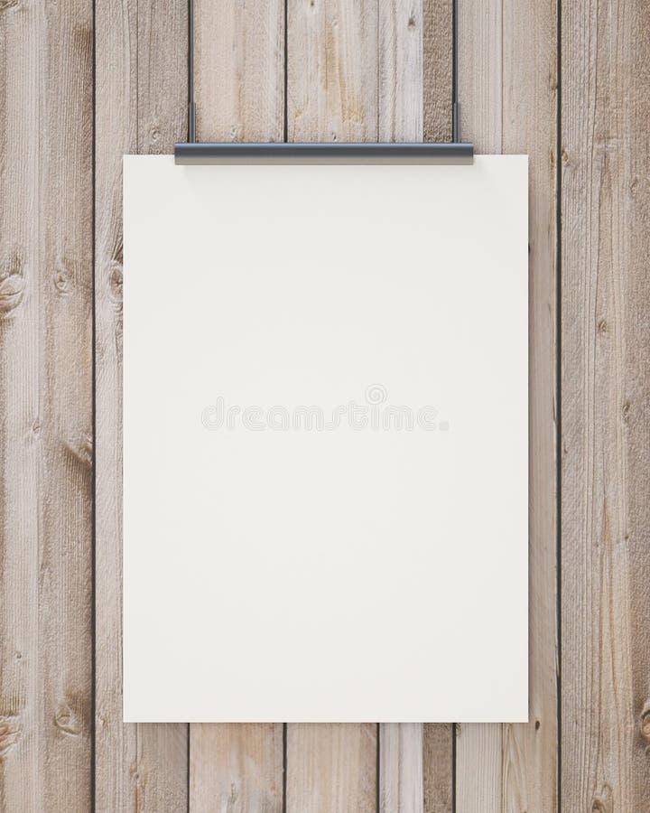 空白的白色垂悬的海报的诺克在垂直的木板条墙壁,背景 库存图片