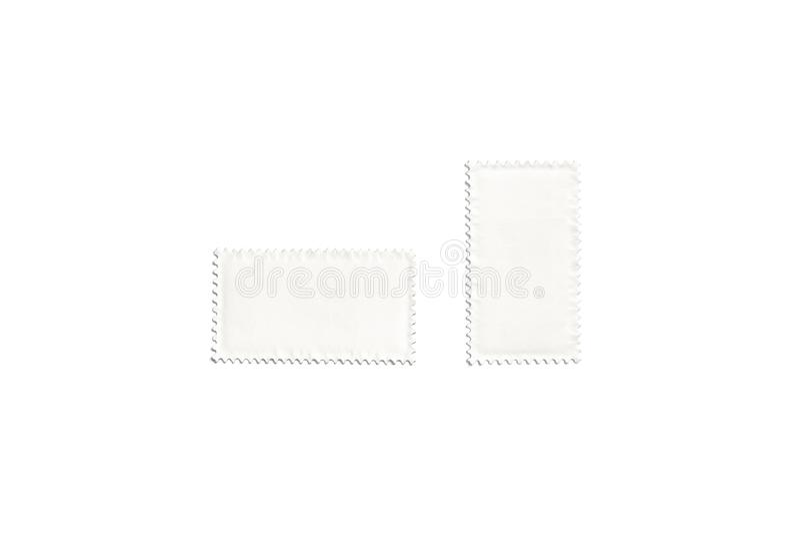 空白的白色垂直和水平的长方形邮票嘲笑 库存例证