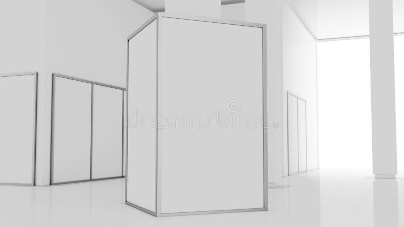 空白的白色墙壁大模型在晴朗的现代空的博物馆, 3d翻译 清楚的大立场嘲笑在画廊 向量例证