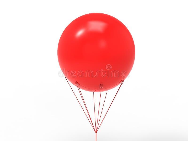 空白的白色增进在天空的户外广告天空巨型可膨胀的PVC氦气气球飞行的嘲笑和模板设计的 向量例证