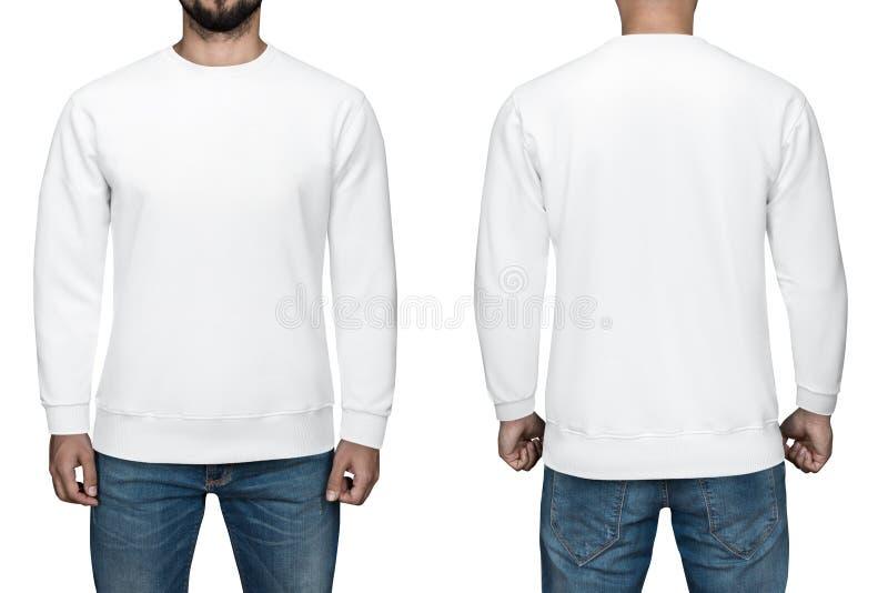 空白的白色套头衫、前面和后面看法的,白色背景人 设计运动衫、模板和大模型印刷品的 免版税图库摄影
