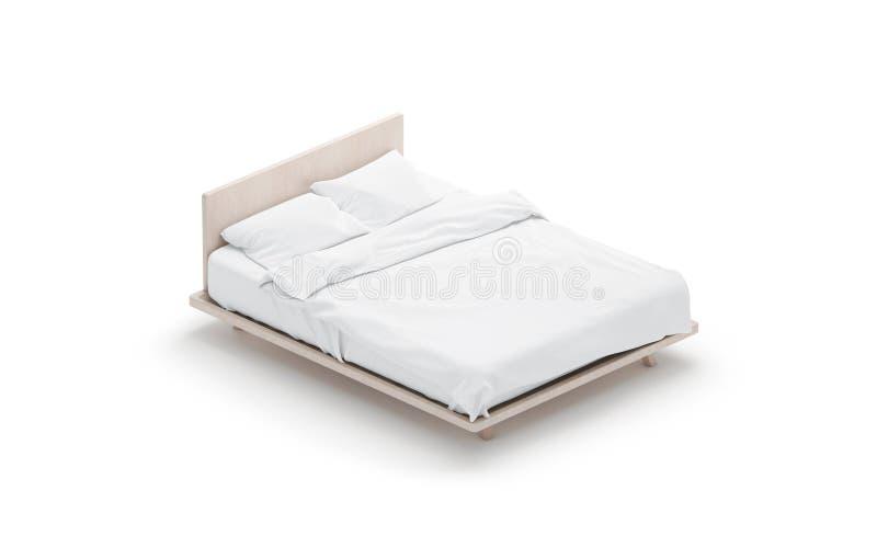 空白的白色床嘲笑,被隔绝的侧视图, 皇族释放例证