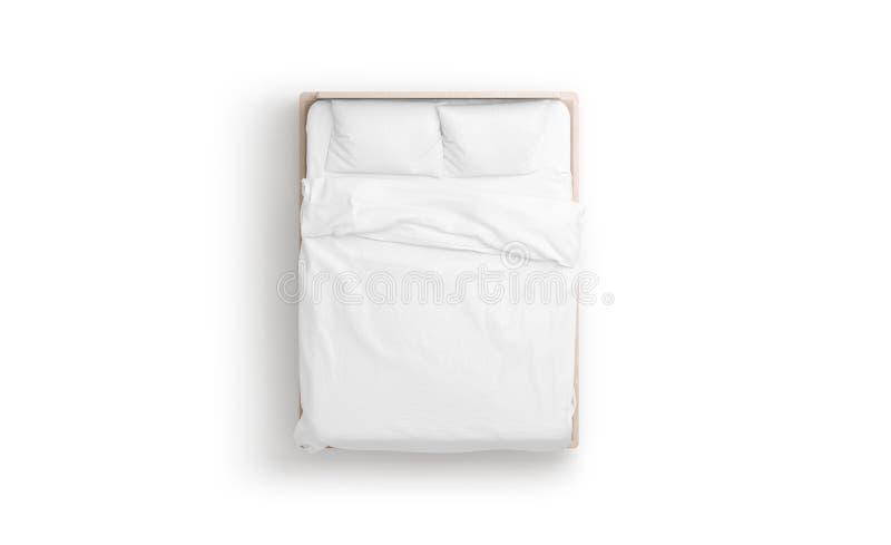 空白的白色床嘲笑,被隔绝的顶视图, 皇族释放例证