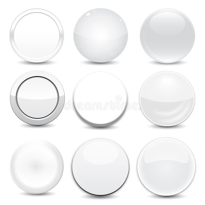 空白的白色按钮 库存例证