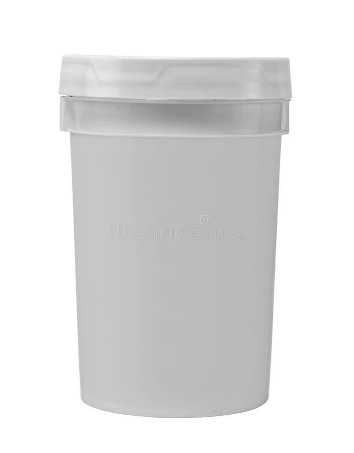 空白的白色木盆油漆塑料桶 图库摄影