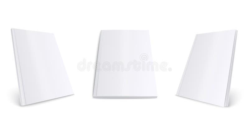 空白的白色杂志大模型集合 纸张文件或书籍收藏与空的封面从前面和侧视图 皇族释放例证