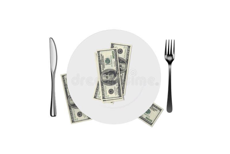 空白的白色板材和叉子,匙子,有美元钞票的刀子在白色 皇族释放例证