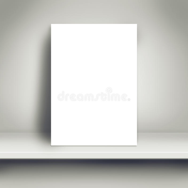 空白的白色海报嘲笑在白色架子 免版税图库摄影