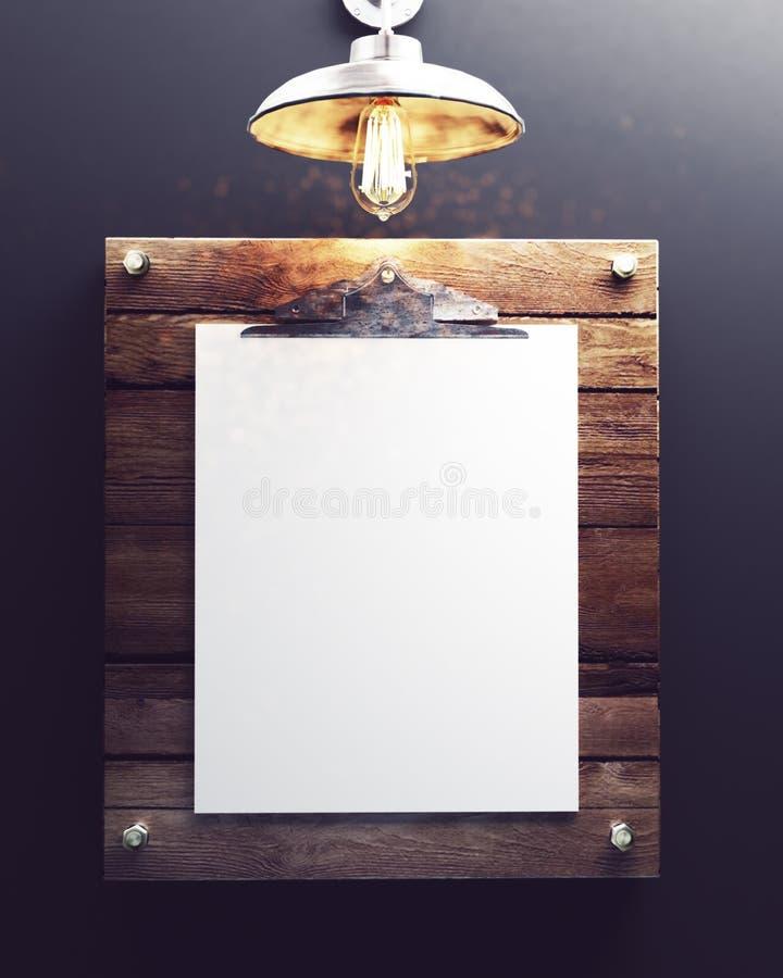 空白的白色海报在与下垂industria的土气木头截去了 皇族释放例证