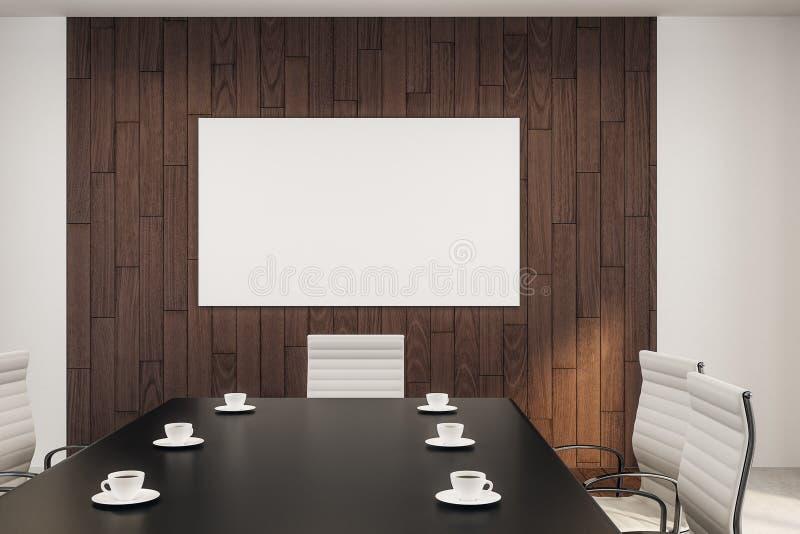 空白的白色海报在会议室 库存例证