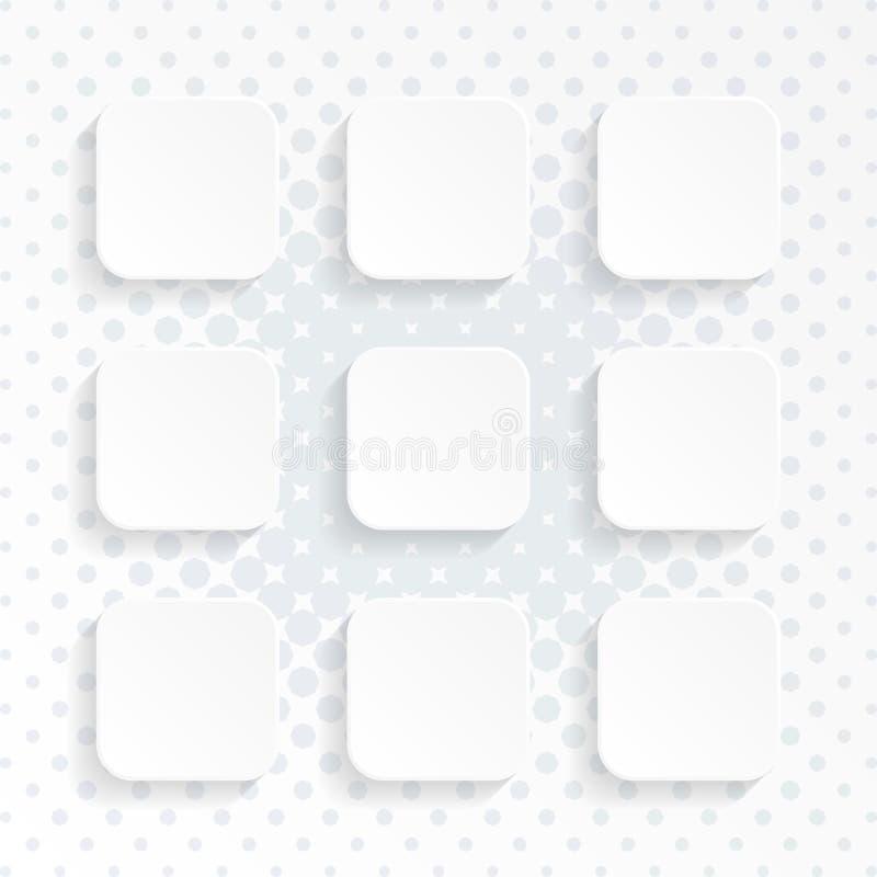 空白的白色环绕了被设置的方形的网站按钮 皇族释放例证