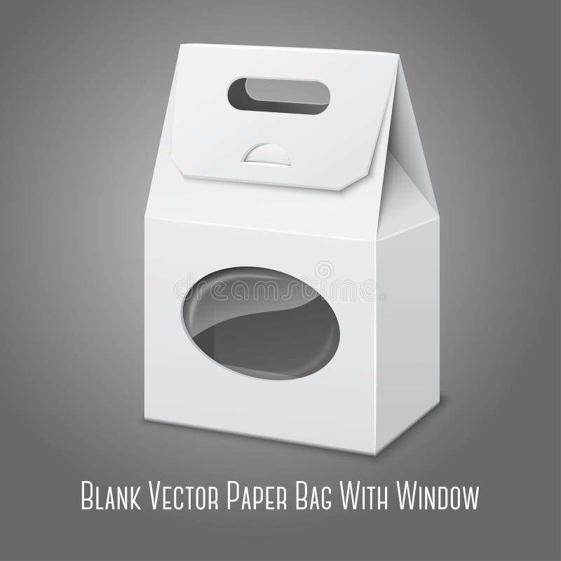 空白的白色现实纸包装的袋子与 向量例证