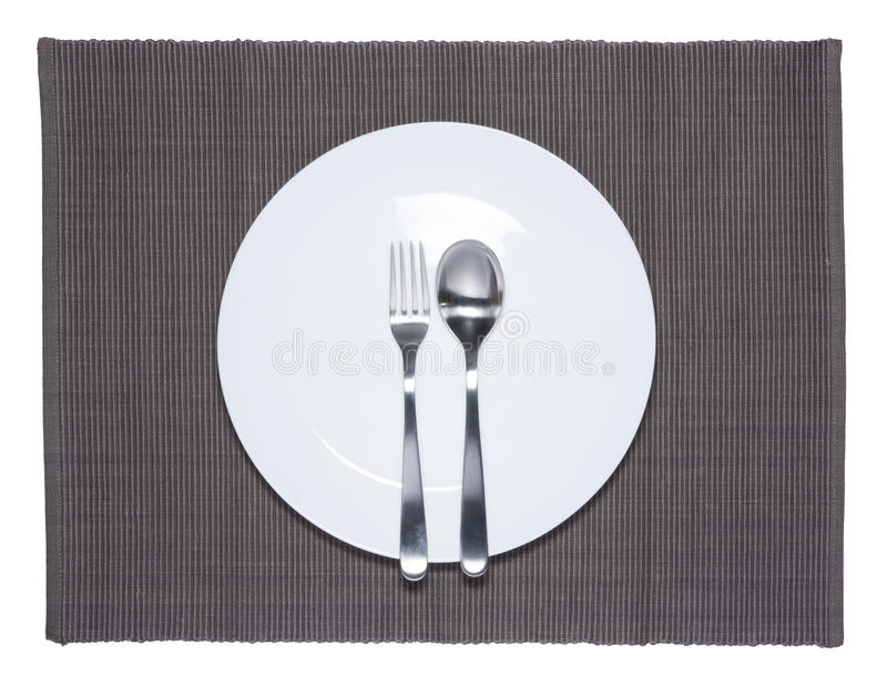 空白的白色盘、叉子和刀子 图库摄影