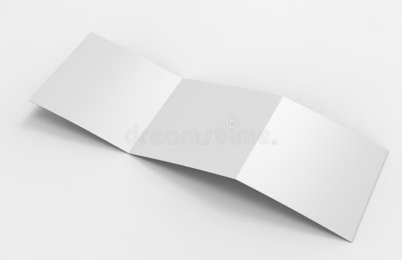 空白的白色空的方形的三部合成的编目小册子飞行物,与裁减路线、多变的背景的嘲笑的和模板desi 库存例证