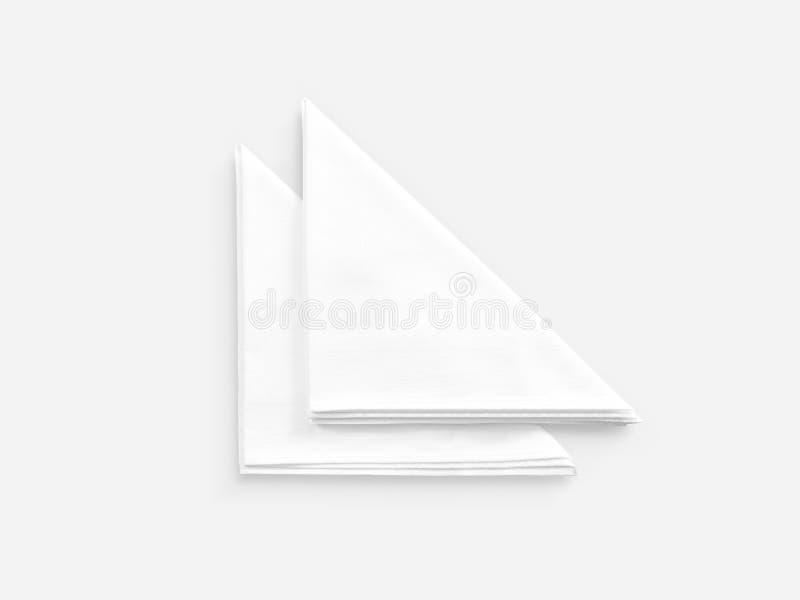 空白的白色餐馆餐巾嘲笑,隔绝 免版税库存图片