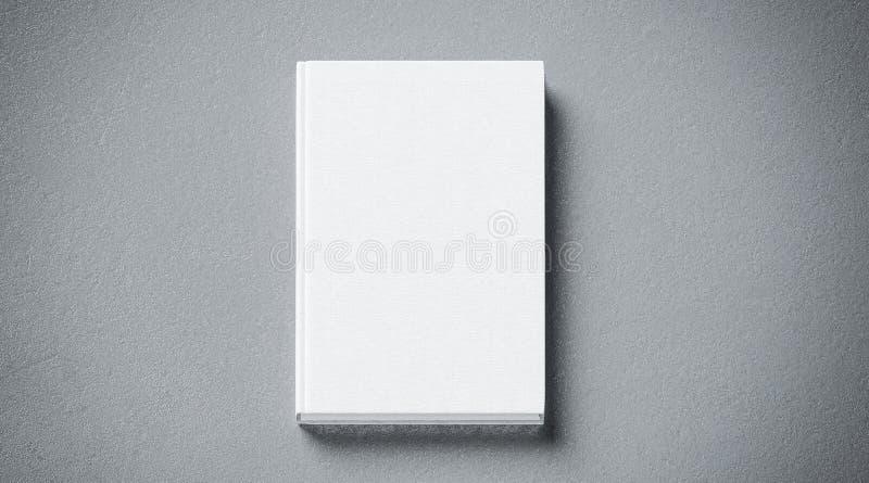 空白的白色组织的坚硬盖子书嘲笑,前方视图, 库存例证