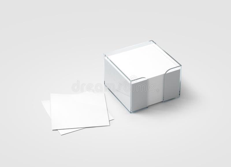 空白的白色贴纸笔记块塑料持有人大模型 免版税库存照片