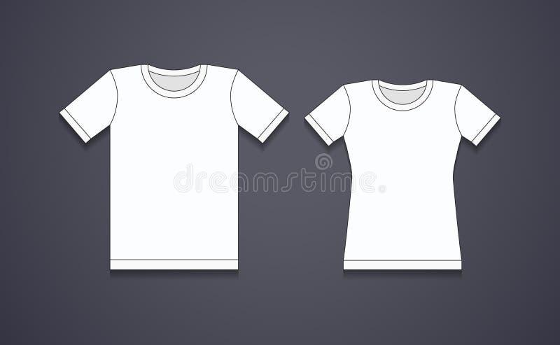 空白的白色T恤杉模板 皇族释放例证