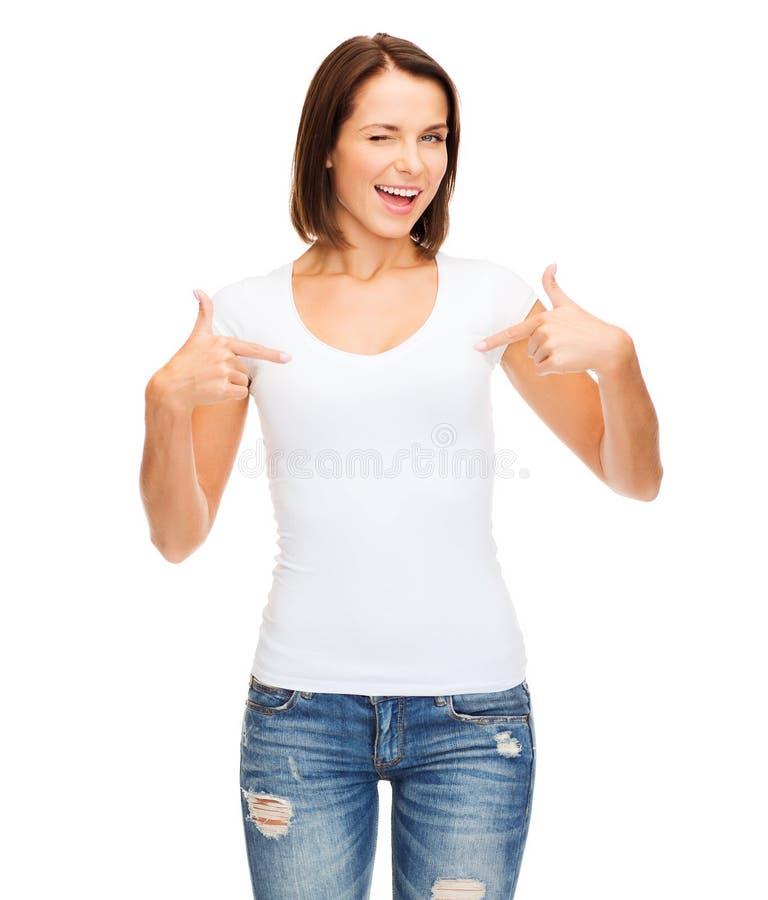 空白的白色T恤杉的妇女 免版税库存照片