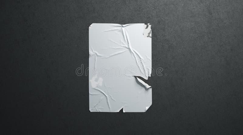 空白的白色wheatpaste黏着性被撕毁的海报大模型黑色织地不很细墙壁 库存图片