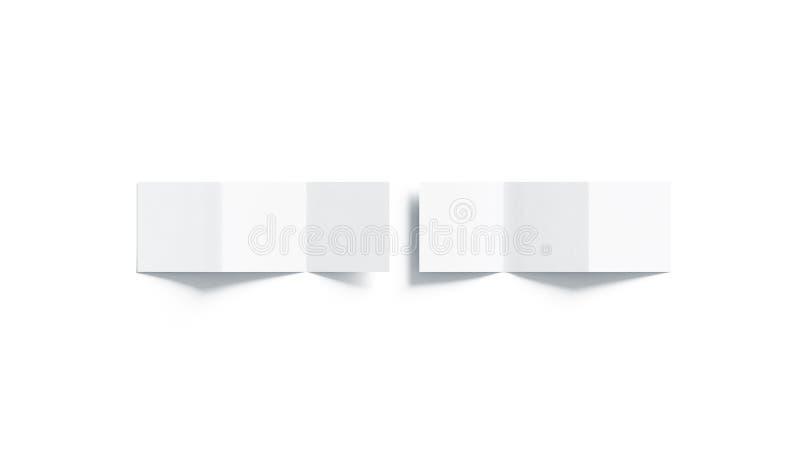 空白的白色z折叠了小册子嘲笑,顶视图 库存例证
