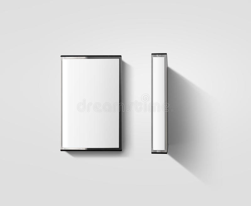 空白的盒式磁带箱子设计大模型,描出侧视图 免版税库存照片