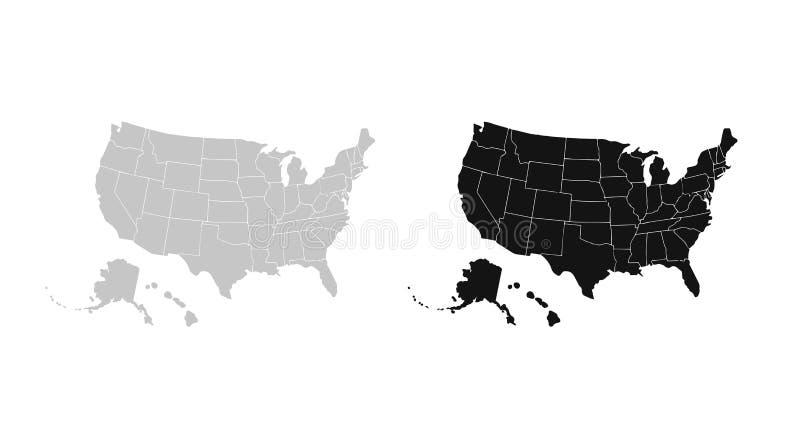 空白的相似的美国在白色背景映射隔绝 美利坚合众国国家 网站的传染媒介模板 皇族释放例证