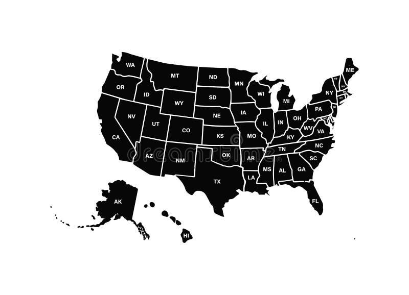 空白的相似的美国在白色背景映射隔绝 美利坚合众国美国国家 传染媒介模板美国为 向量例证