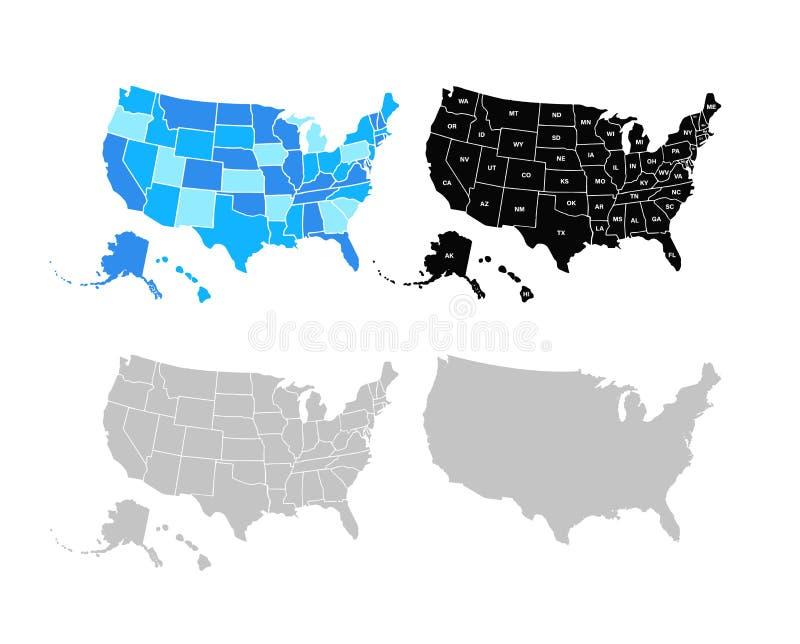 空白的相似的美国在白色背景映射隔绝 美利坚合众国美国国家 传染媒介模板美国为 皇族释放例证