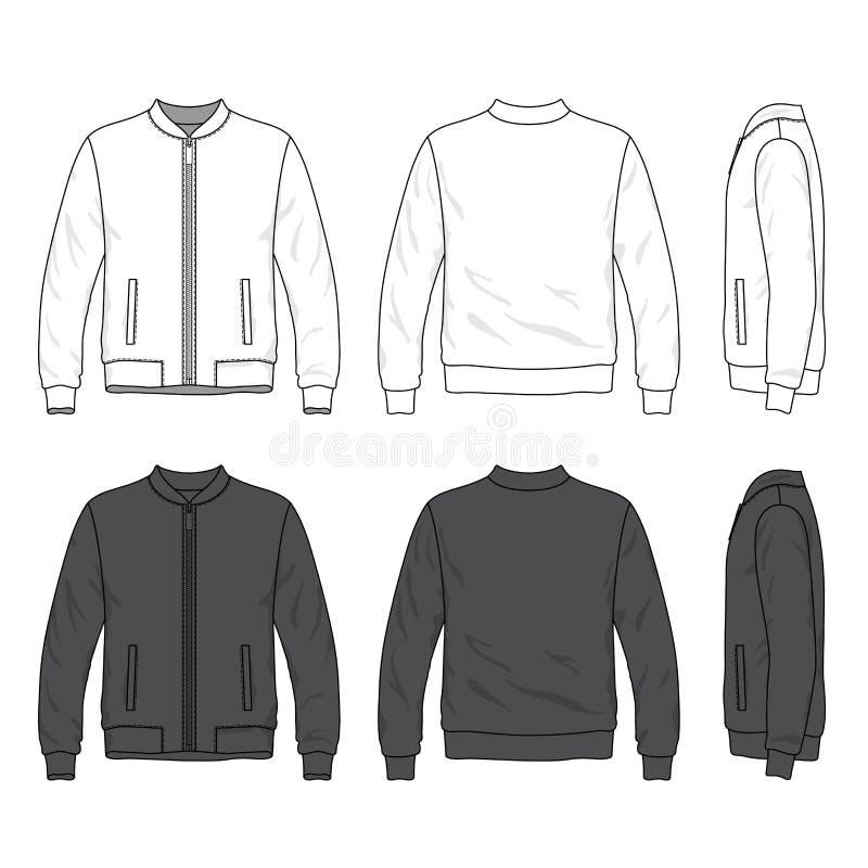 空白的短夹克朝向,后面和侧视图有拉链的 库存例证
