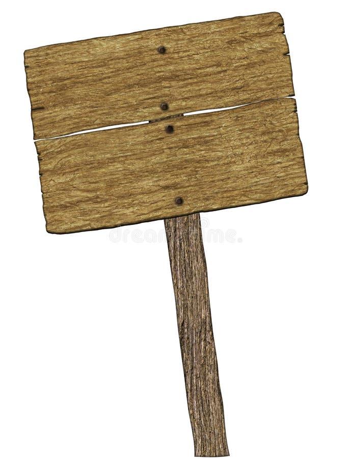 空白的空白的木标志(在白色) 免版税库存图片