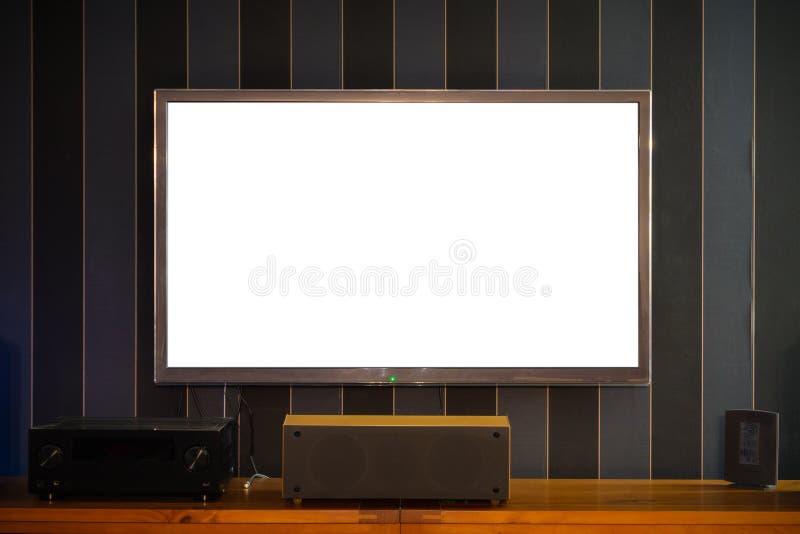 空白的空的大大平的电视屏幕 免版税库存图片