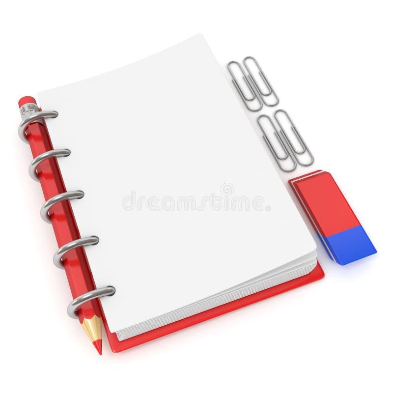 空白的笔记薄、铅笔、橡胶和纸夹 3d回报 库存图片