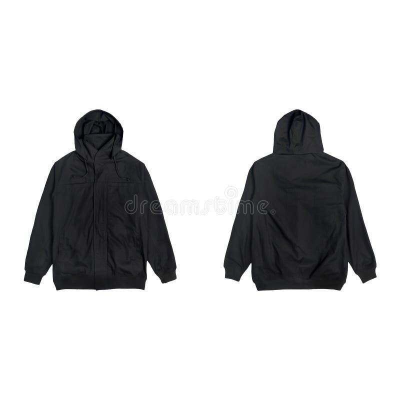 空白的简单的短夹克有冠乌鸦黑色前面和后面看法在白色背景隔绝的捆绑组装,准备好您假装  免版税图库摄影