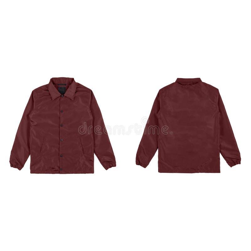 空白的简单的防风上衣夹克在白色背景隔绝的褐红的颜色前面和后部视图 为您假装准备  免版税库存图片