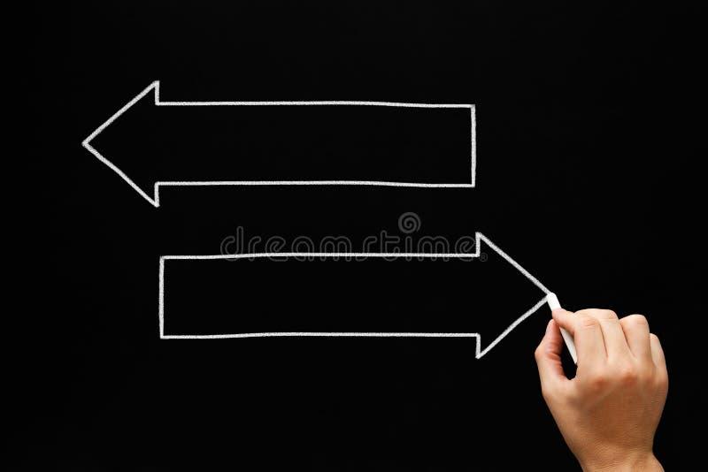 空白的箭头概念黑板 库存例证