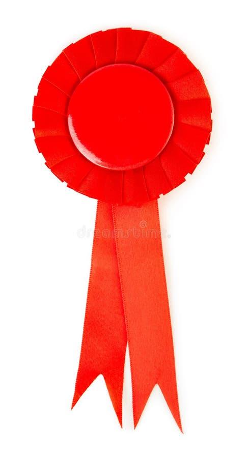 空白的红色得奖的丝带玫瑰华饰 库存照片